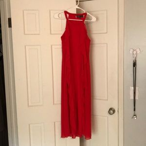 Red/coral flowy ruffle long midi dress